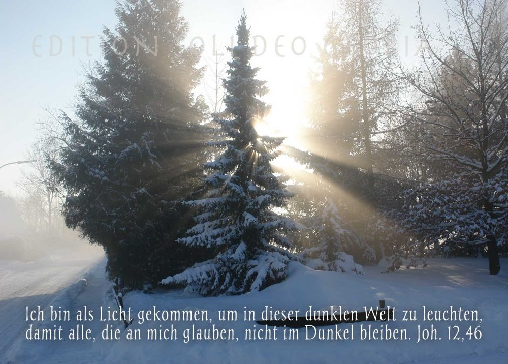 christliche Postkarte 97, Weihnachtskarte, Licht, Dunkelheit, Joh ...