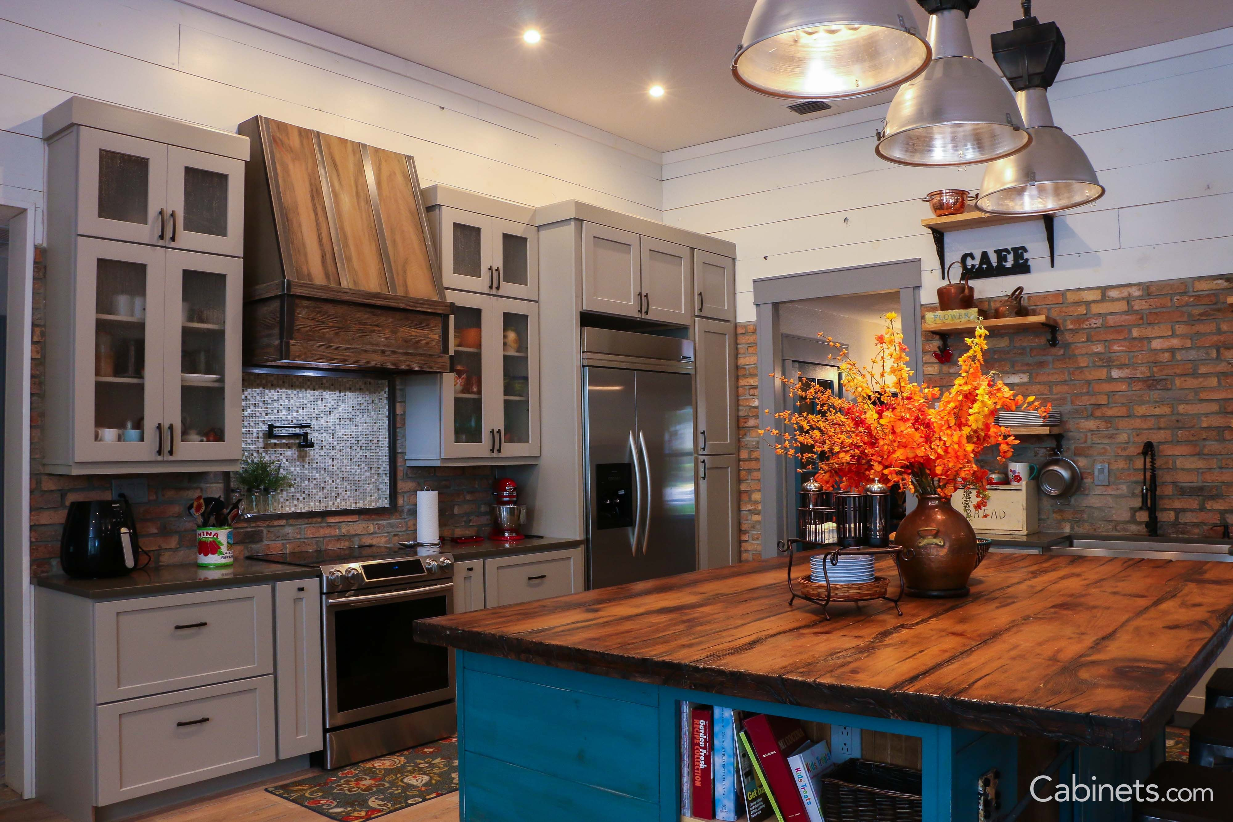 kitchen cabinets.com updated ideas if you re not into the white look add a pop of color to your island we obsessed with this gray cabinet and blue combo