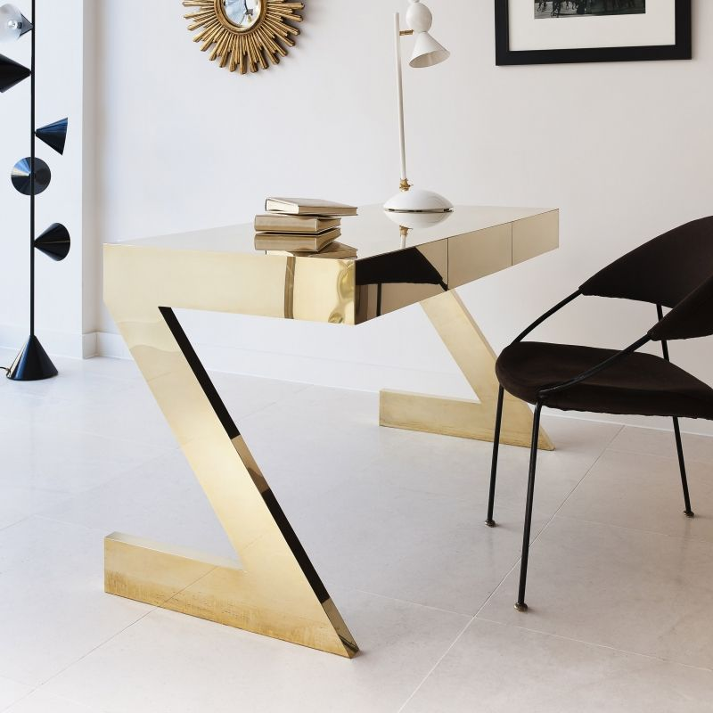 24 Luxury And Modern Home Office Designs: Black And Gold Luxury Modern Office