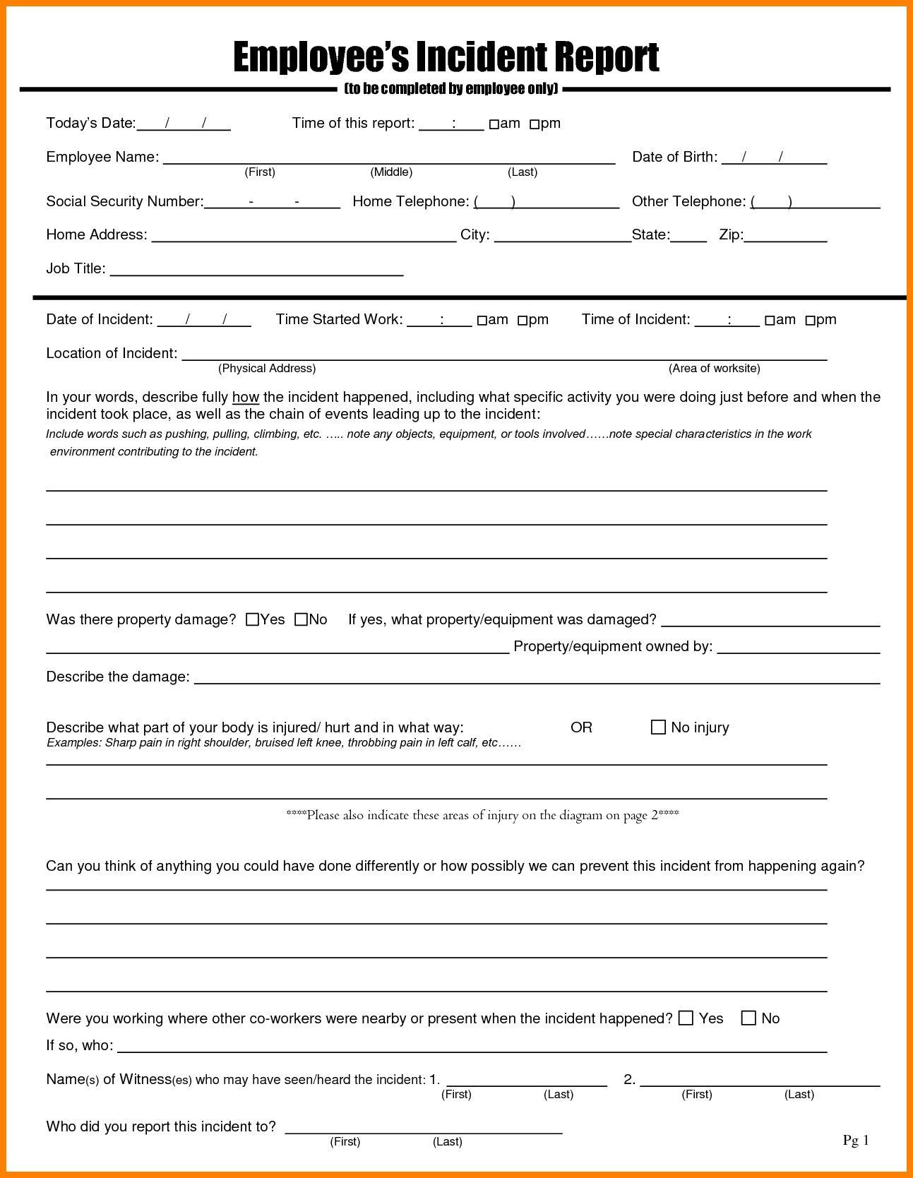 Employee Behavior Dent Report Template Form Format Pdf Regarding Employee Incident Report Templates Report Card Template Incident Report Form Incident Report