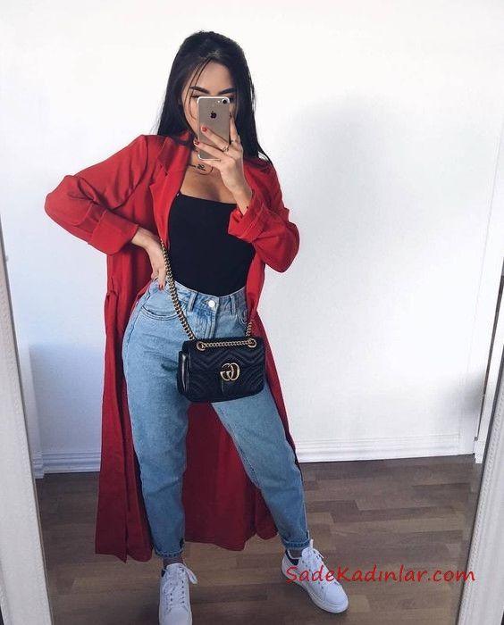 2019 Yüksel Bel Jean Kombinleri Mavi Yüksel Bel Pantolon Siyah Bluz Kırmızı Uzun Ceket Beyaz Spor Ayakkabı