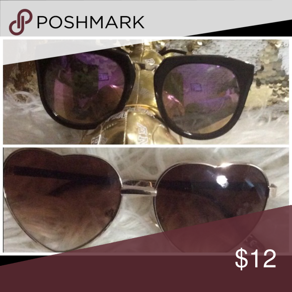 2 pair of sun glasses 1 pair brown heart shape 1 pair black frame with gold tone purple metallic lens Accessories Glasses