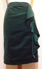 Per Una Emerald Bottle Green Velvet Ruffle Frill Pencil Skirt Size 12 Ladies M&S