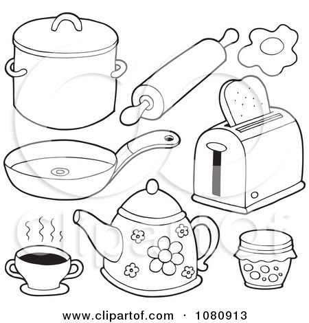 Clipart Outlined Kitchen Items Royalty Free Vector Illustration By Visekart Coloring Pages Paper Dolls Kitchen Items