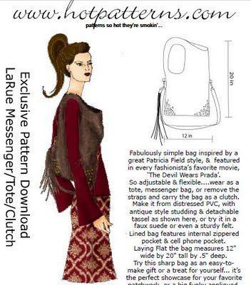 Hot Patterns La Rue Free Handbag Pattern | багажик | Pinterest ...