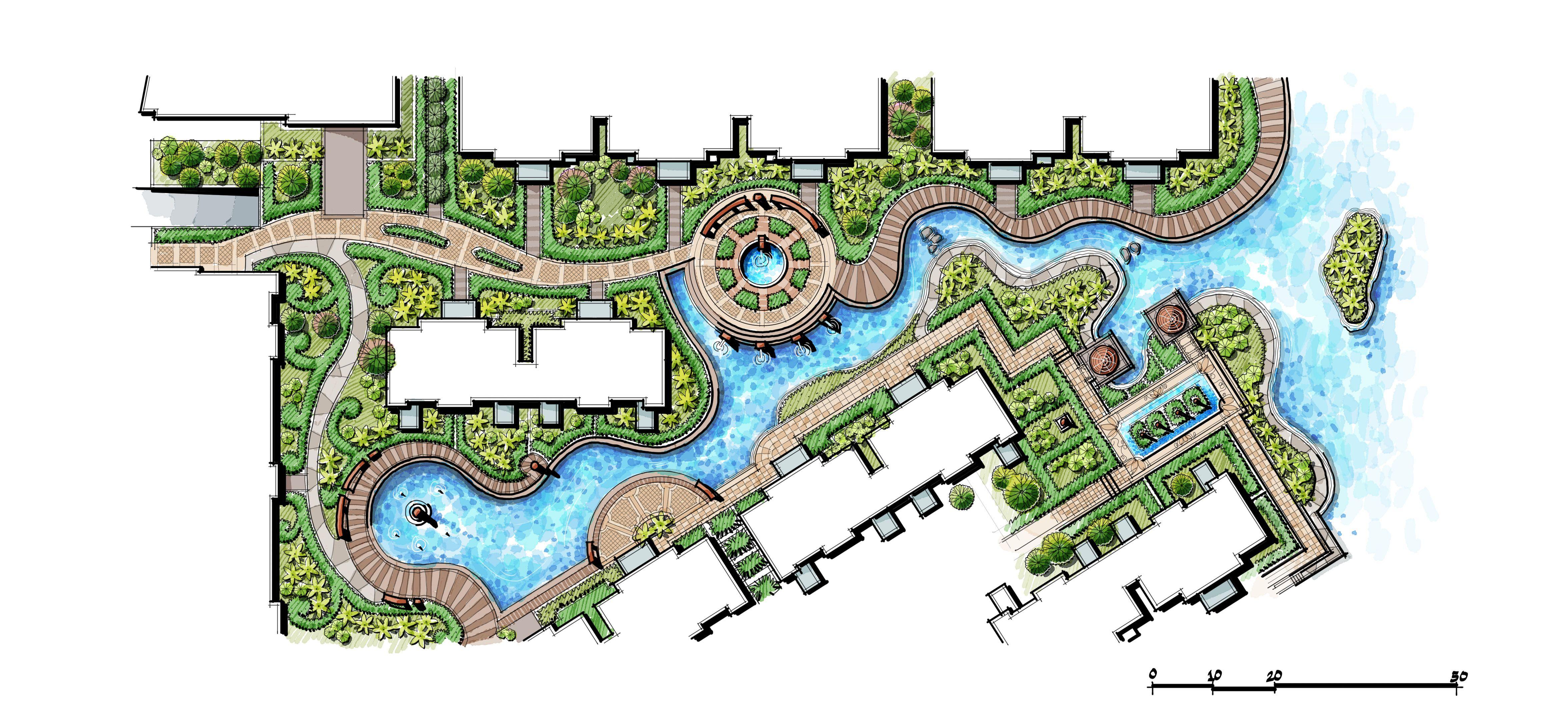Riverside Landscape Design Pond Design Residential Wet Lands Water Garden Landscape Architecture Drawing Landscape Design Drawings Hotel Landscape
