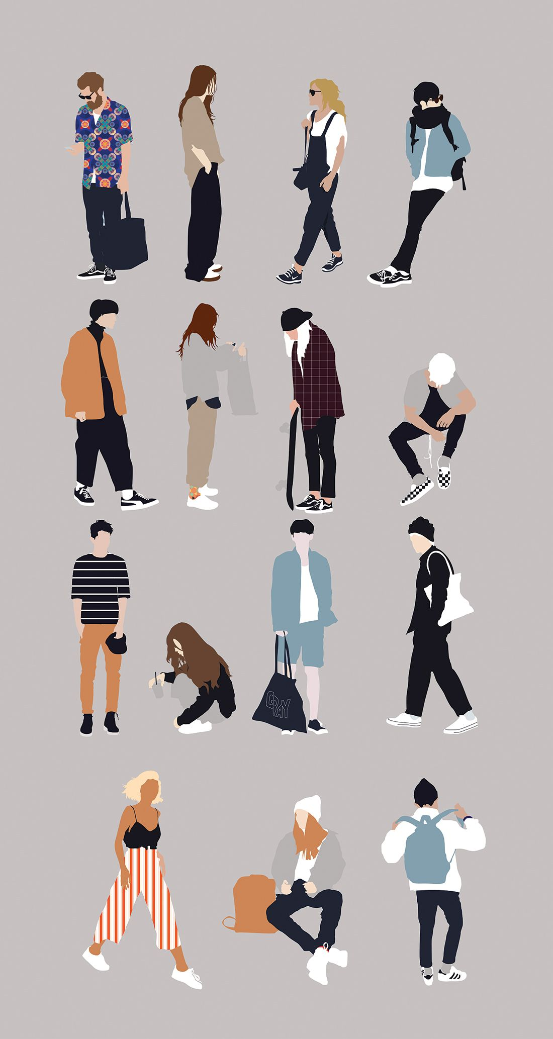 Flat Vector People Illustration for Architecture ...