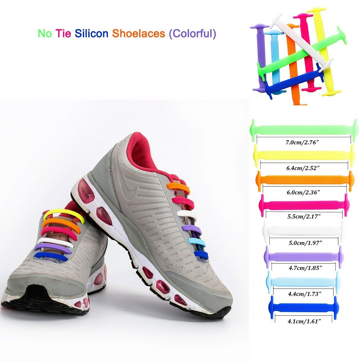 Cusfull Lazy No Tie Shoelaces for Adults Waterproof Flat Silicon Shoelaces Multicolor Shoelaces16 Pcs/pair