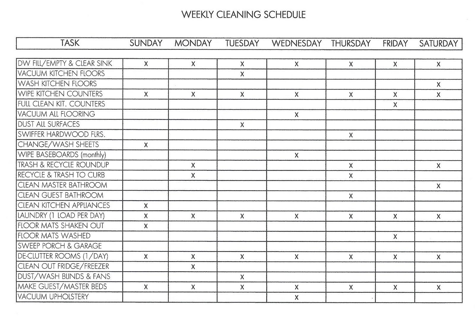 housework schedules
