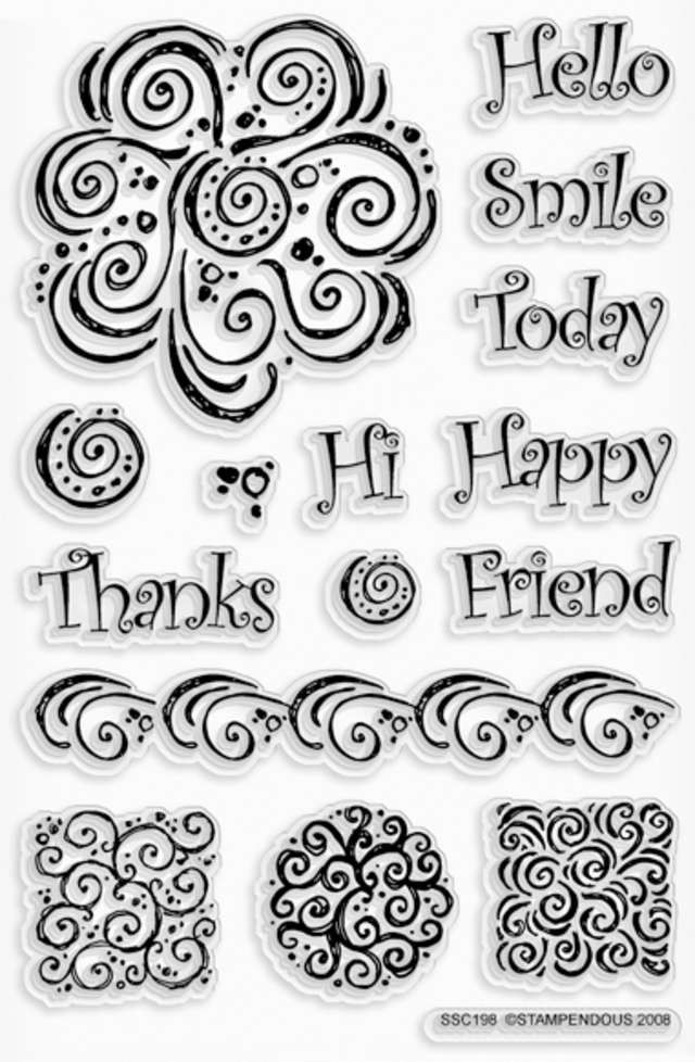 """Sunny Swirls Stampendous Perfectly Clear Stamps 4""""X6"""" Sheet 4X6-SSC-198 - Stamps"""
