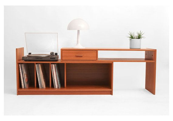 Mid Century Teak Record Cabinet - Credenza, Modern, Wood, Buffet ...