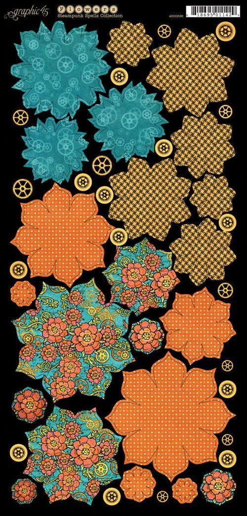 Cardstock Flowers 1 from our new collection Steampunk Spells! #graphic45 #steampunk #sneakpeeks
