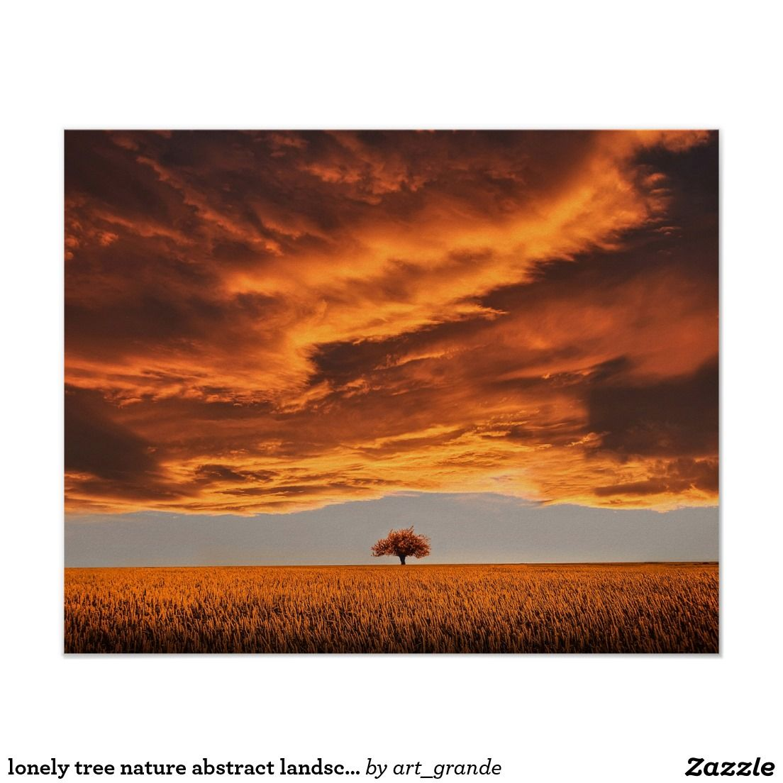 Lonely Tree Nature Abstract Landscape Poster