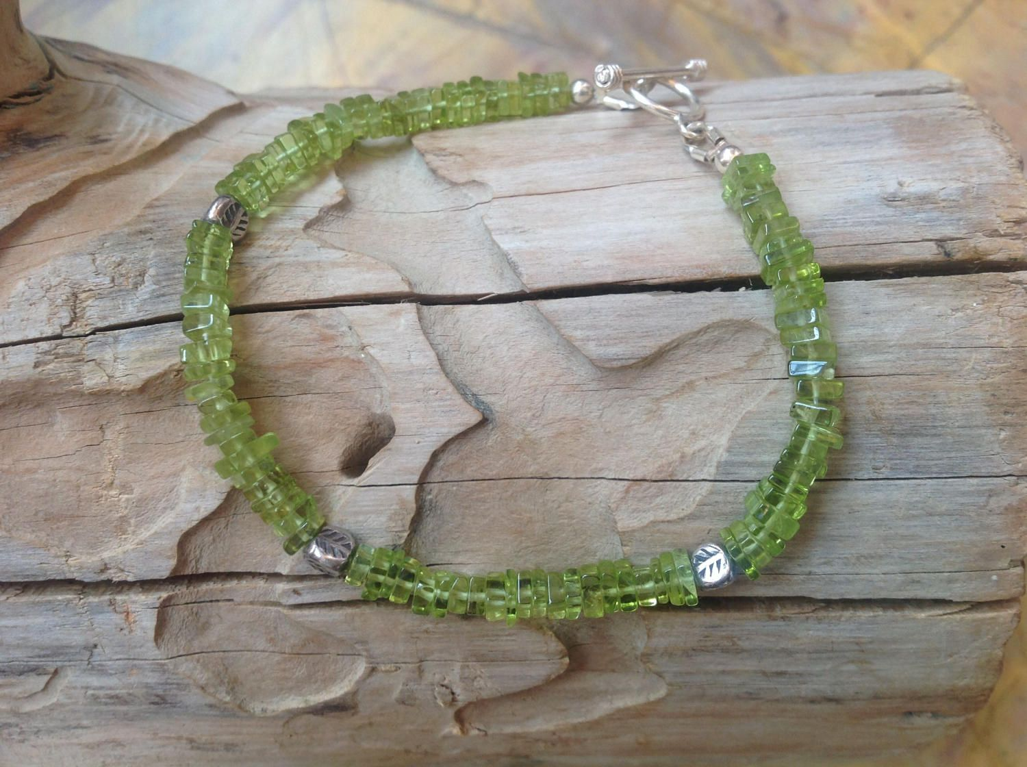 Dainty Bracelet, Green Peridot, Semi Precious Gemstone, Karen Hill Tribe Silver, 925 Sterling Silver, August Birthstone, Gift for Her. by BlueLaceSilver on Etsy