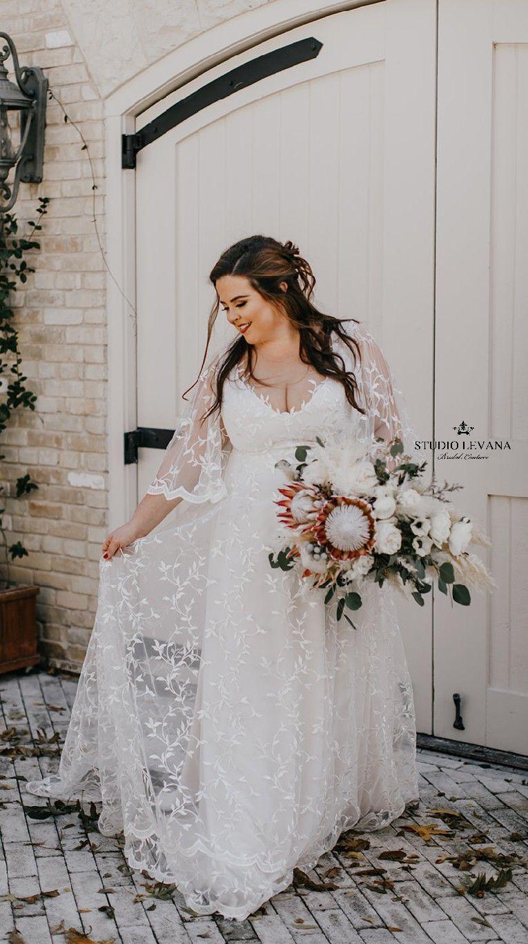 Bohemian Light Plus Size Wedding Dress Deep V Neckline And Flutter Sleeves Rosie By Studi Wedding Dresses Plus Size Wedding Dresses Halloween Wedding Dresses [ 1368 x 765 Pixel ]