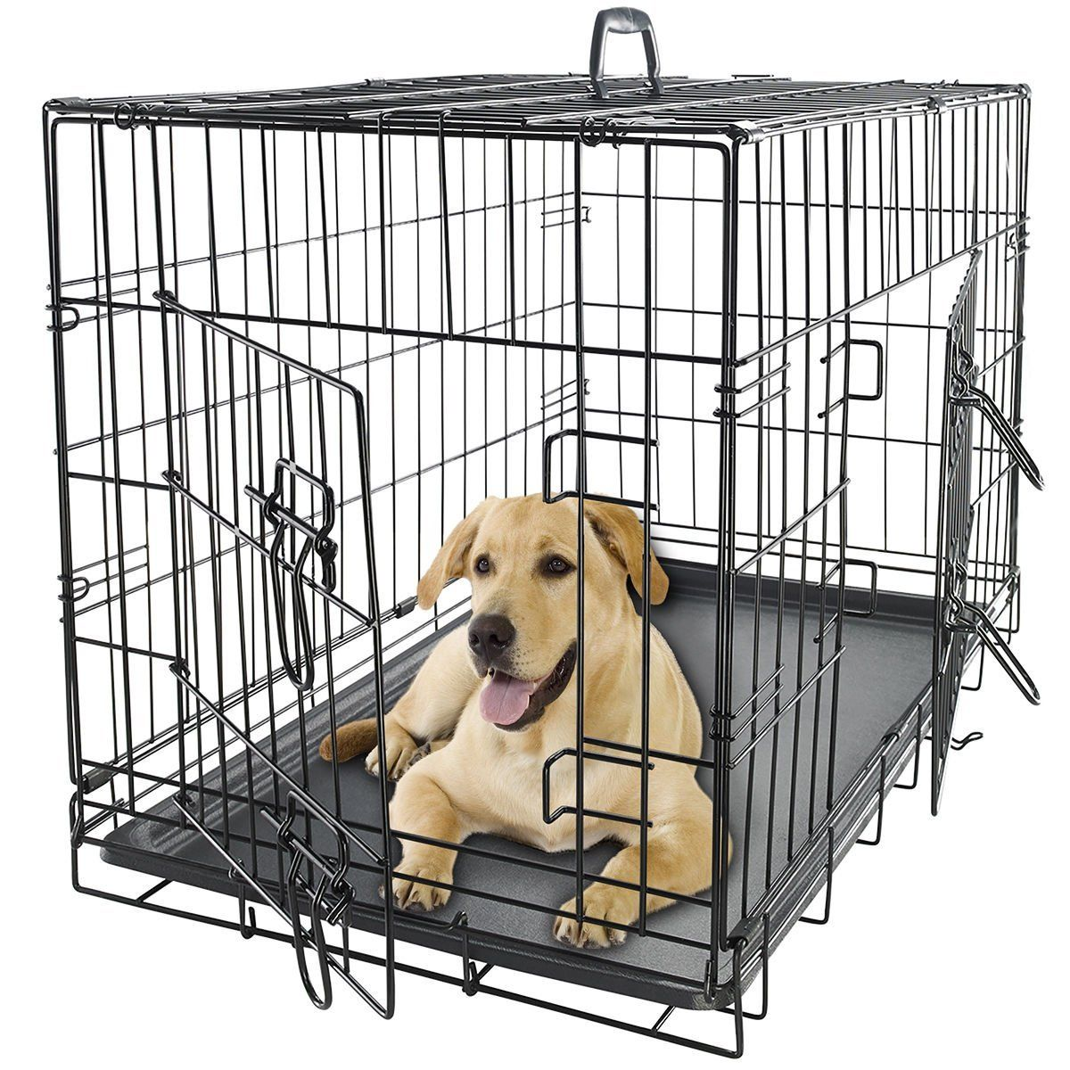 42 Dog Crate 2 Door Wdivide Wtray Fold Metal Pet Cage Kennel