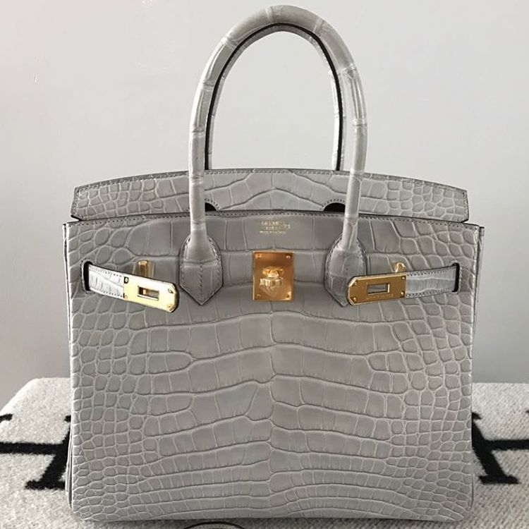 Super rare Hermes 30cm Birkin in #grisperle matte alligator