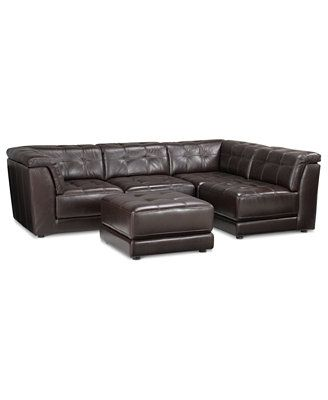 Stacey Leather Sectional Sofa 5 Piece Modular Pit 2 Armless