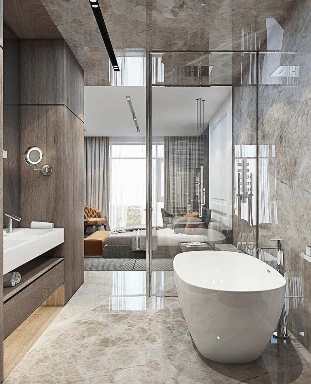 une suite parentale tr s moderne et design avec une belle. Black Bedroom Furniture Sets. Home Design Ideas
