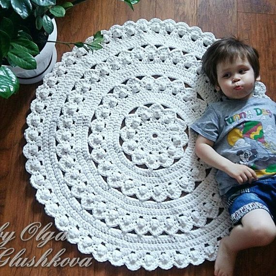 White Rug Nursery Crochet