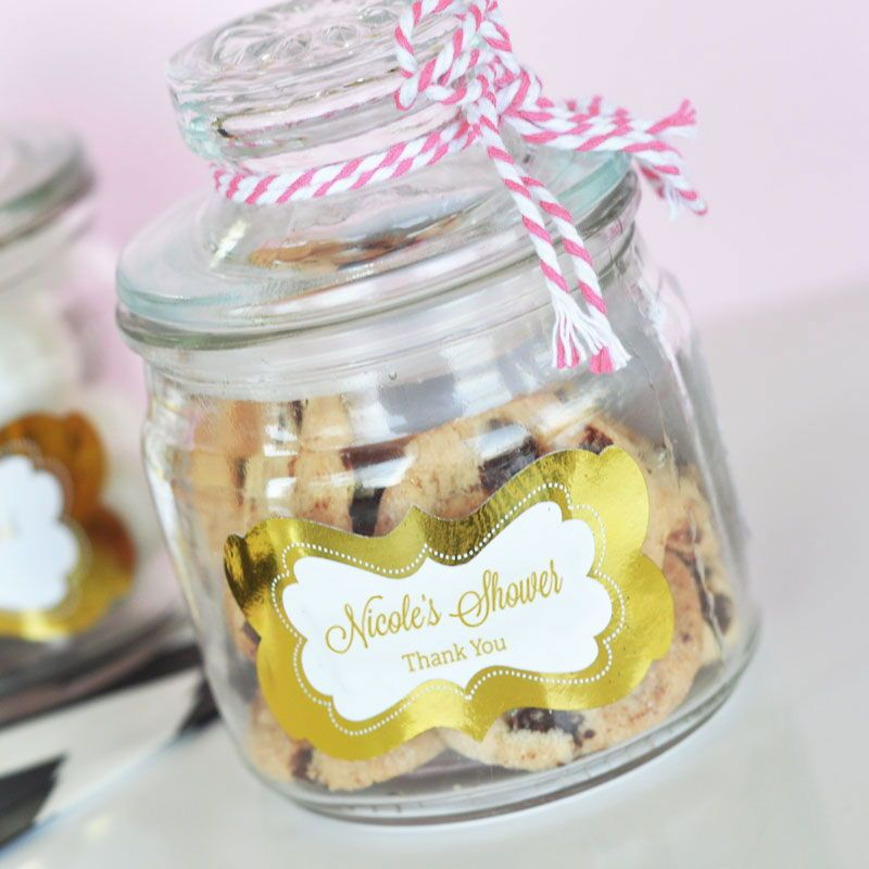 pinterest mason jar bridal shower favors%0A Metallic Foil Cookie Jars   The CUTEST baby shower favors   gold   babyshower