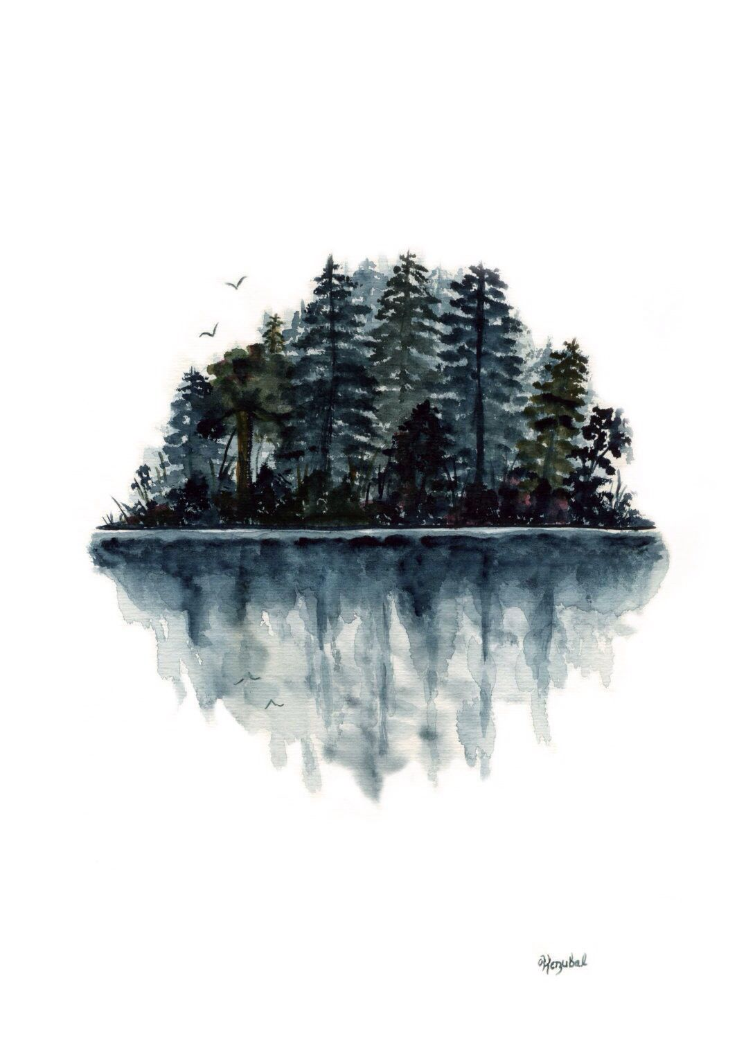 Original Watercolor Painting Forest Lake Reflection Birds Landscape Water Fir Trees Blue Green