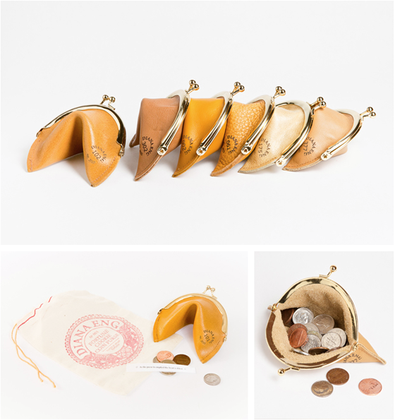 Leather fortune cookie coin purse