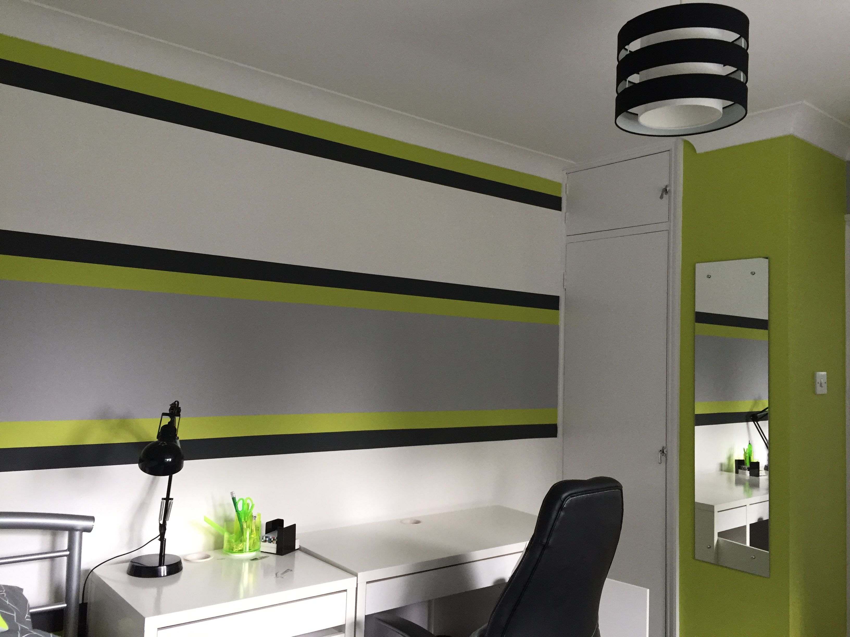 Lime Green Amp Grey Boy S Bedroom Lime Green Bedrooms