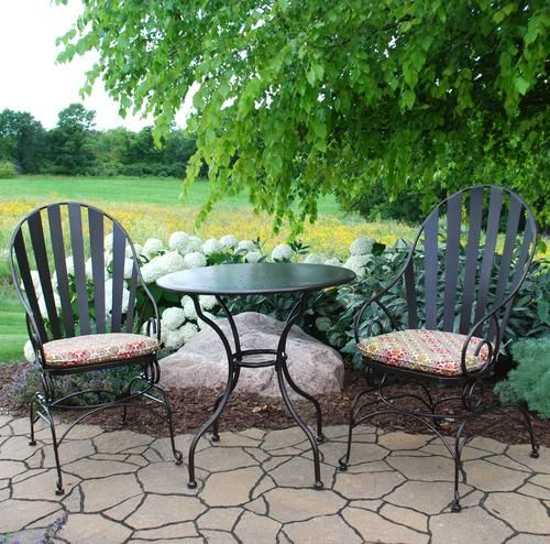 Backyard Creations 3 Piece Cedar Creek Bistro Collection At Menards Backyard Creations Bistro Patio Set Backyard