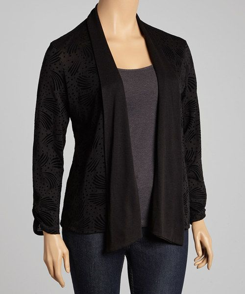 8032da4966a549 Love this Carol Rose Black Abstract Open Cardigan - Plus by Carol Rose on # zulily! #zulilyfinds