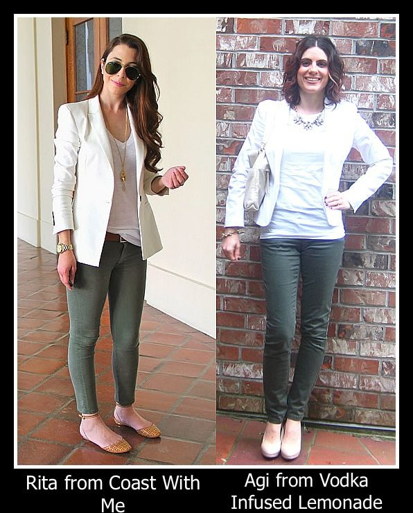 olive skinny pants + white blazer + nude shoes + brown belt + white tee