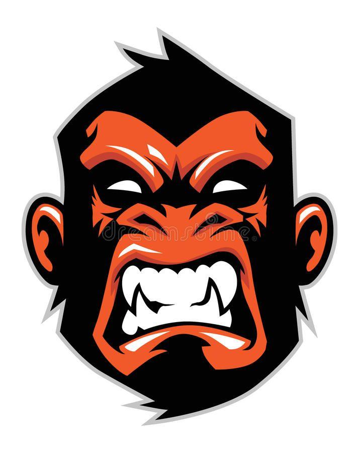 Monkey head mascot stock vector. Illustration of sticker - 35695085