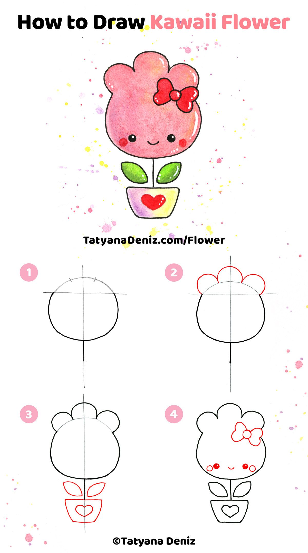 How To Draw Kawaii Flower Step By Step Tutorial Flower Drawing