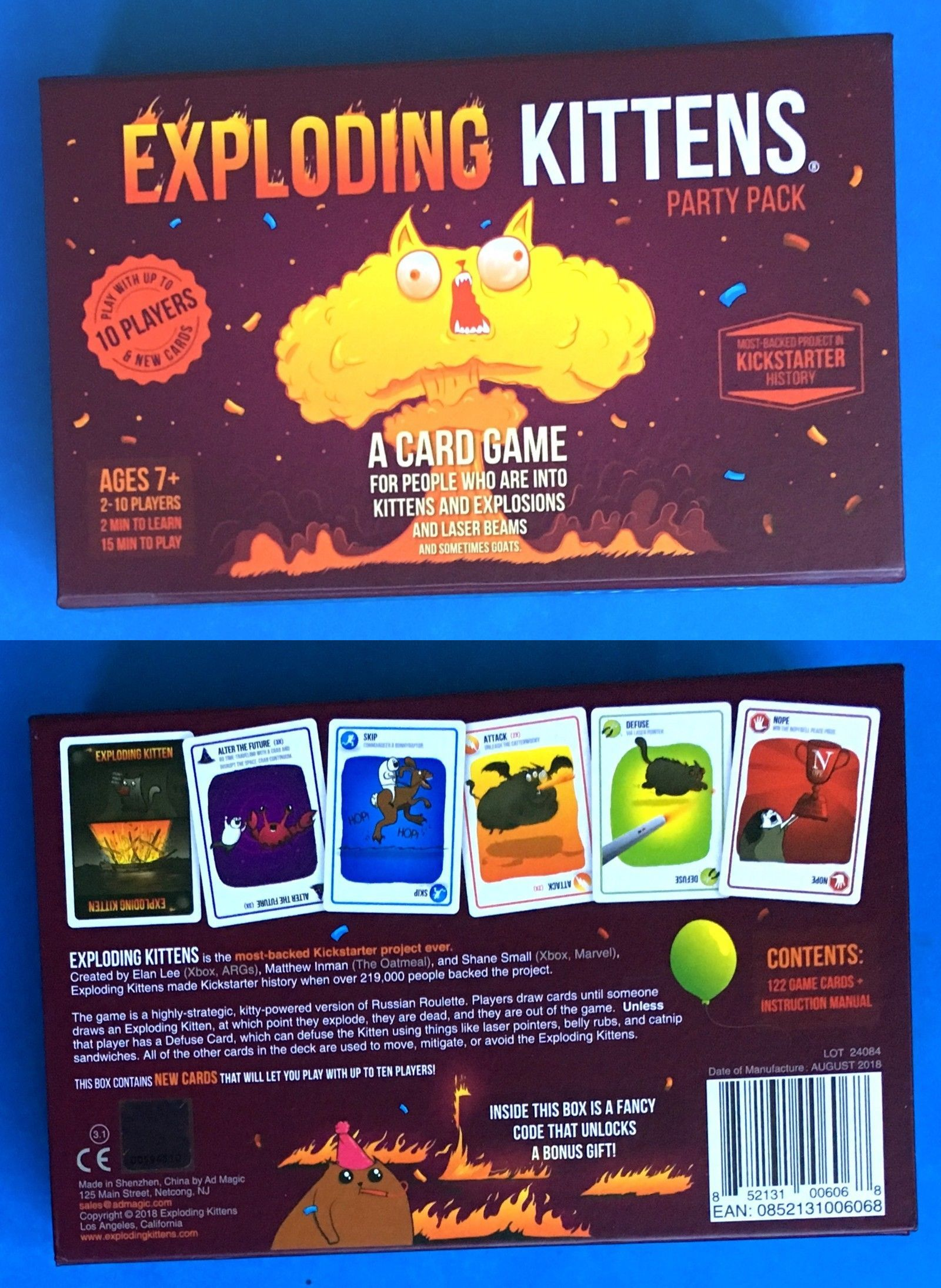 Other Card Games And Poker 2552 Exploding Kittens Party Pack 10 Player Card Game New Version Read Desc B Card Games Party Card Games Kitten Party
