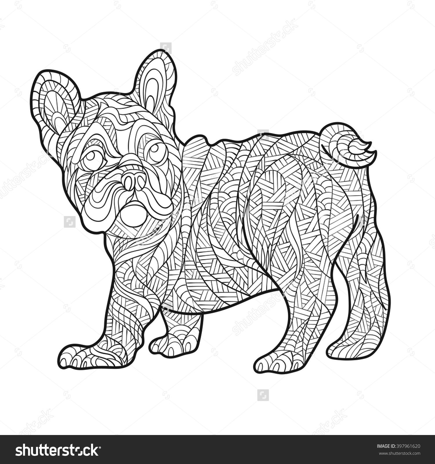 Vector Monochrome Hand Drawn Zentagle Illustration Of French Bulldog Coloring Page With High Details Isolated On White Background Boho Style
