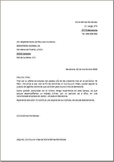 carta de presentacin ejemplo 1 curriculumcover letters lockslionreadingblue - Ejemplo De Cover Letter