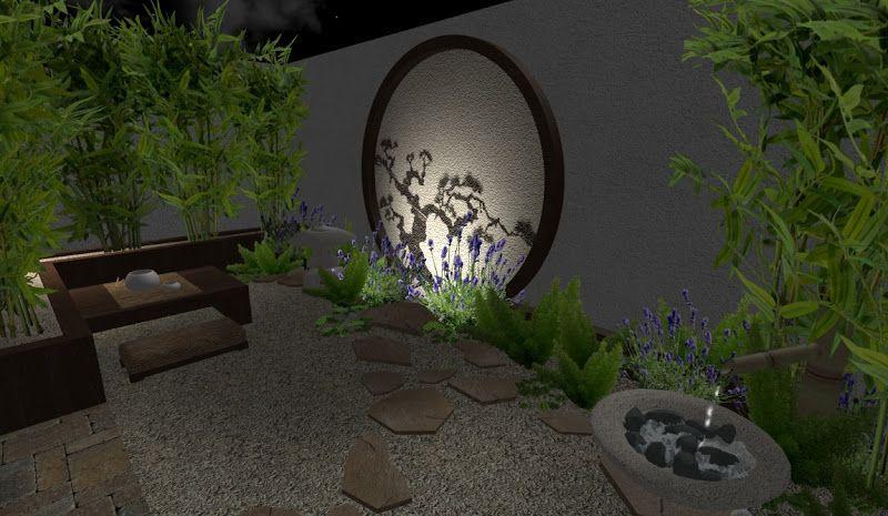 Hermoso jardin peque o oriental en patio con bambu fuente - Fuentes para jardin pequeno ...