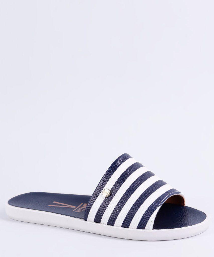 9a37a21aab Chinelo feminino Vizzano azul e branco listrado. Modelo super confortável e  perfeito para os dias