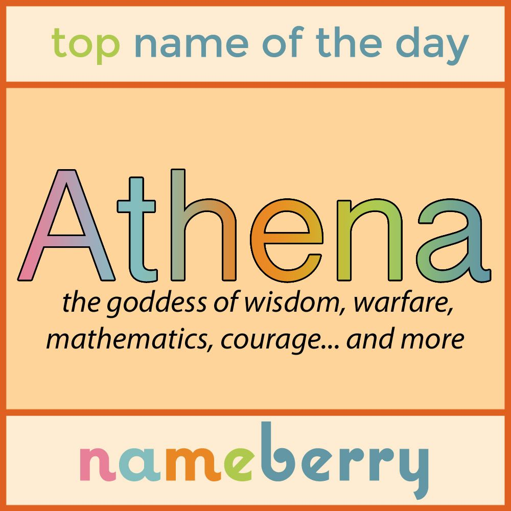 Last year, Athena entered the Top 150 names in the US for ...