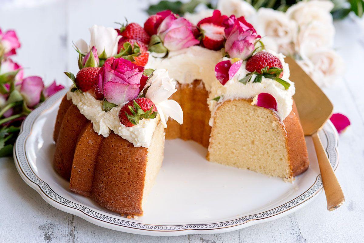 Awesome Vanilla Bundt Cake With Rosewater Buttercream Frosting Flowers Personalised Birthday Cards Akebfashionlily Jamesorg
