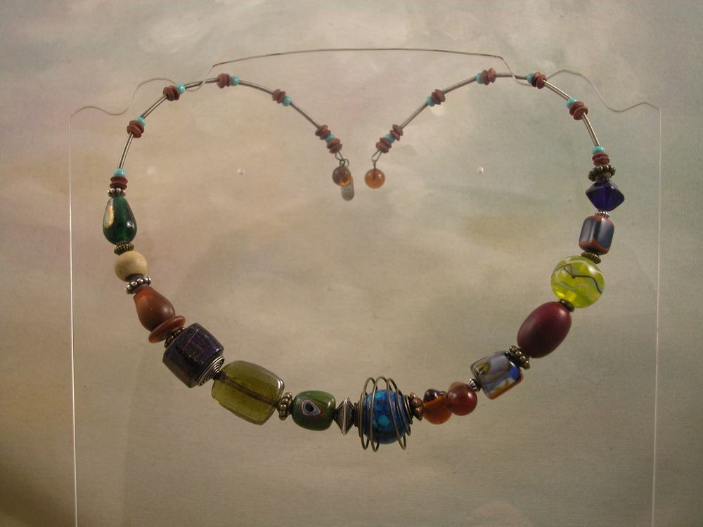 Whimsical Treska Boho Memory Wire Glass and Wood Bead Collar Necklace Muti Color