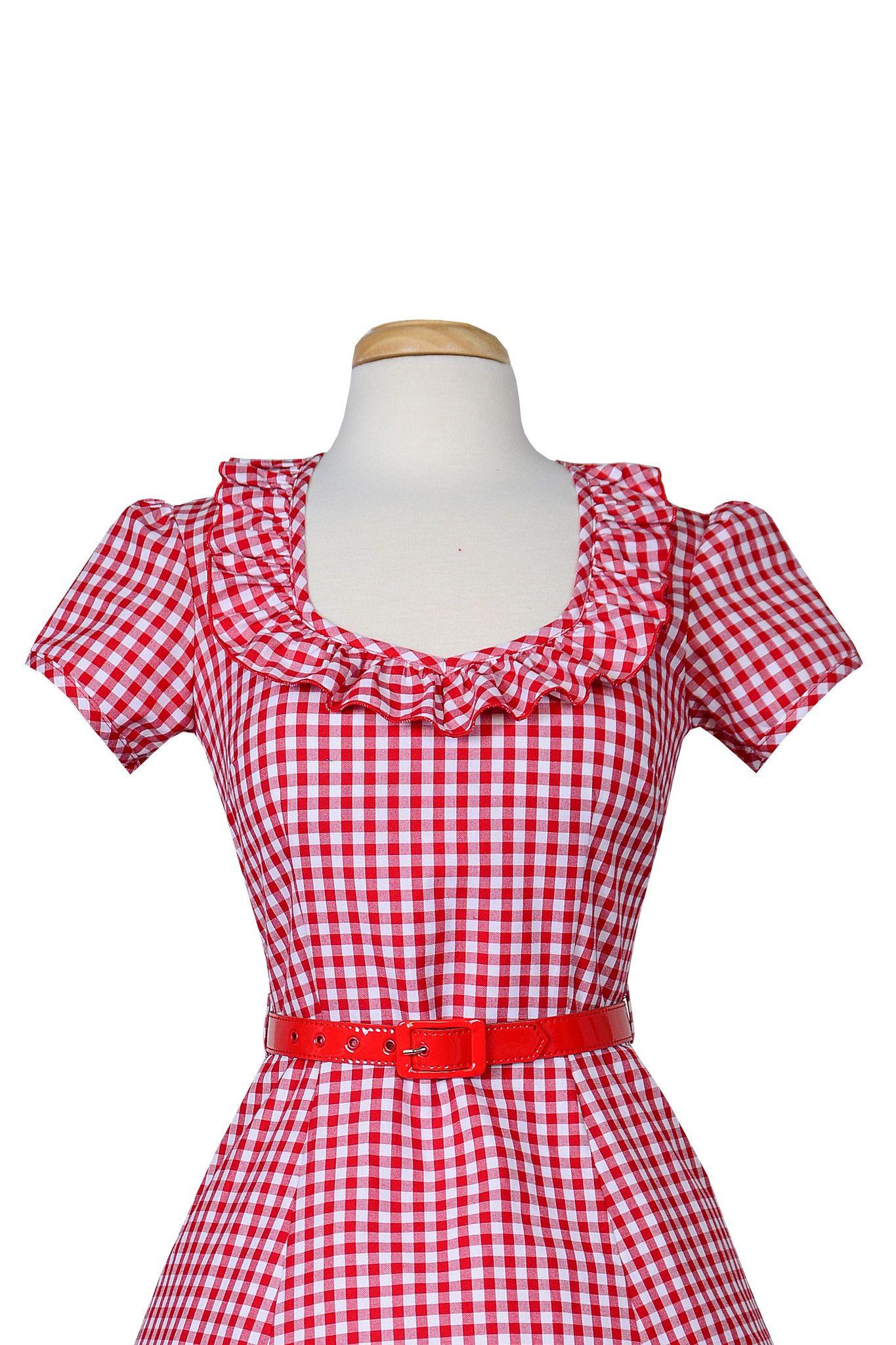 Ebury Dress in Red Gingham - Bernie Dexter