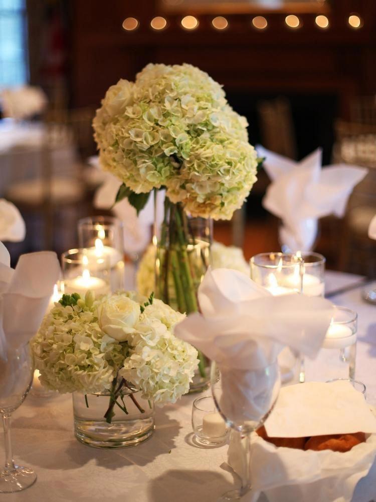 Hochzeit Tischdeko Romantisch Weiss Hortensien Tischdecke Vase