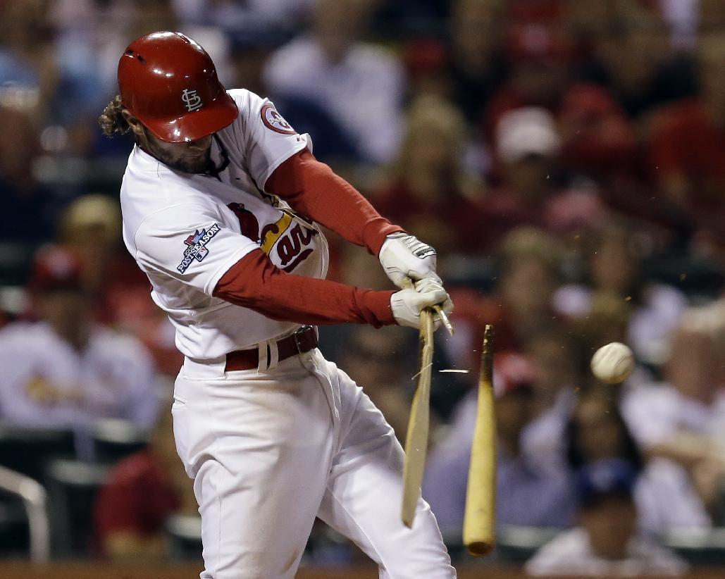 St. Louis Cardinals' Pete Kozma breaks his bat as he lines