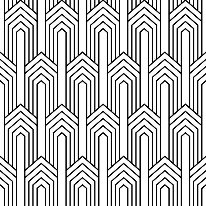 Black And White Art Deco Peel And Stick Wallpaper Geometric Etsy In 2021 Art Deco Wallpaper Geometric Wallpaper Art Deco Pattern