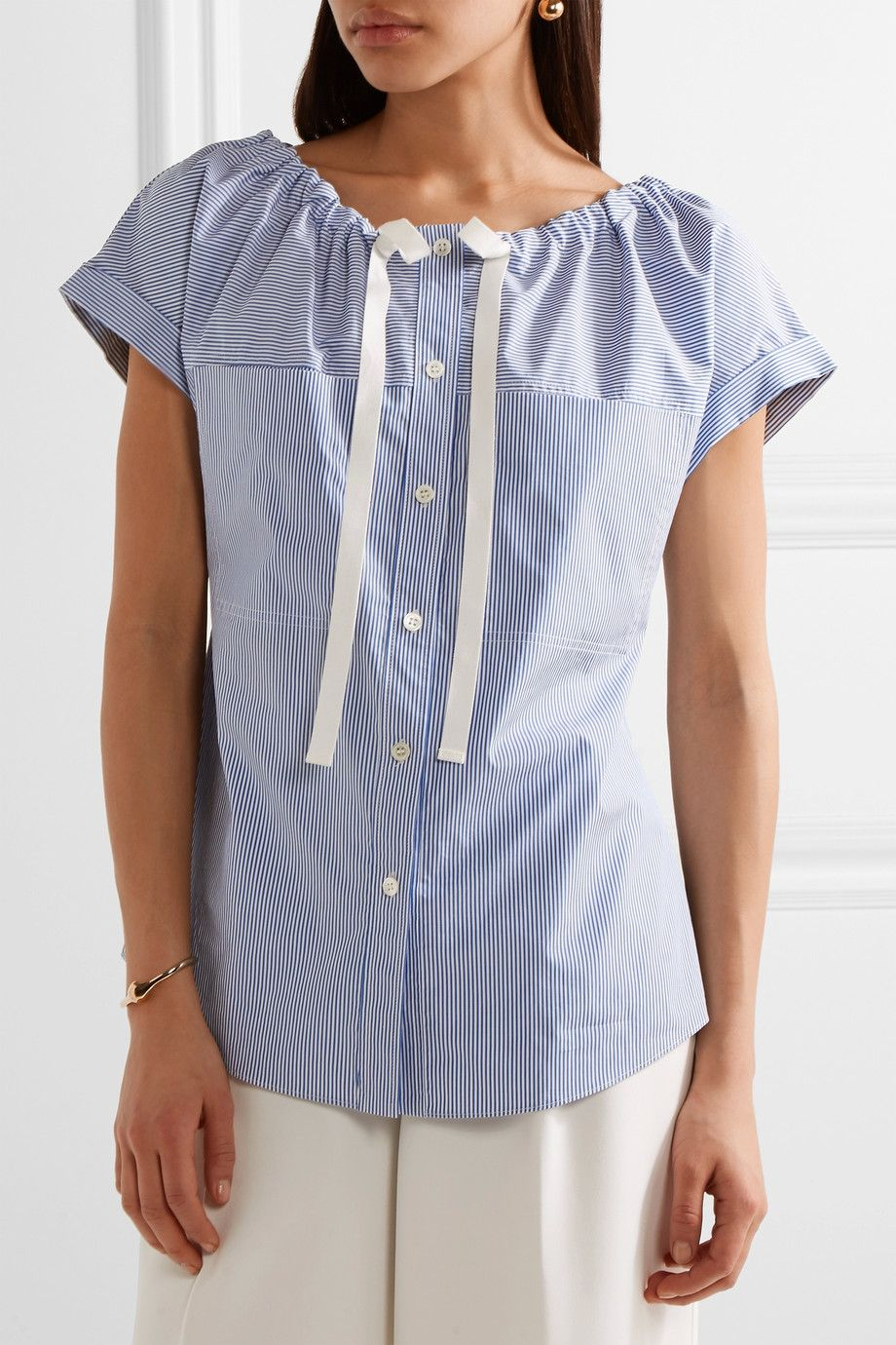 94df9d56af Theory | Velvela gathered striped cotton-poplin top | NET-A-PORTER.COM
