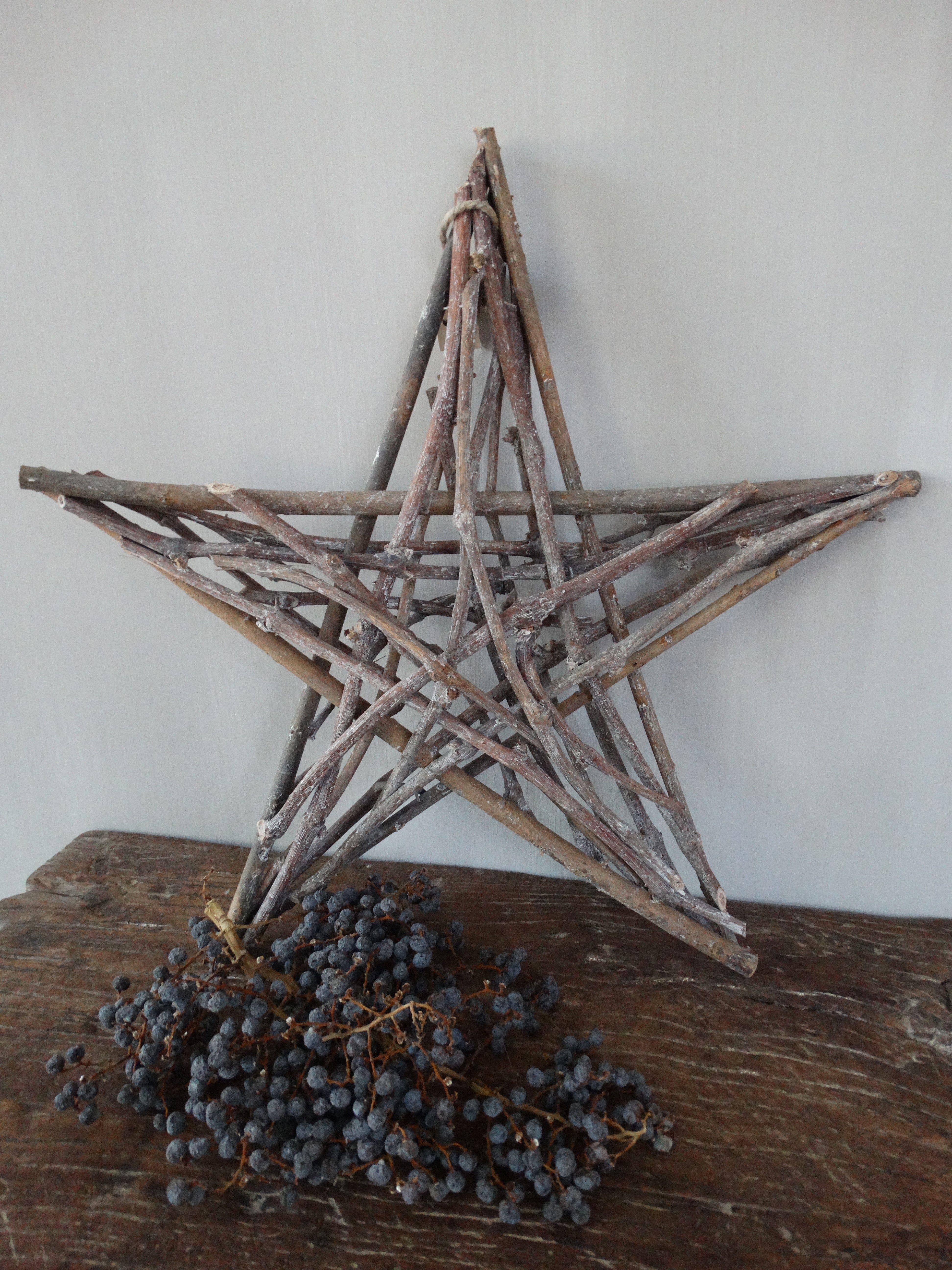 Kerst Decoratie Ster Van Takken Kerst Houtbewerking Ouderwetse Kerstornamenten Kerst