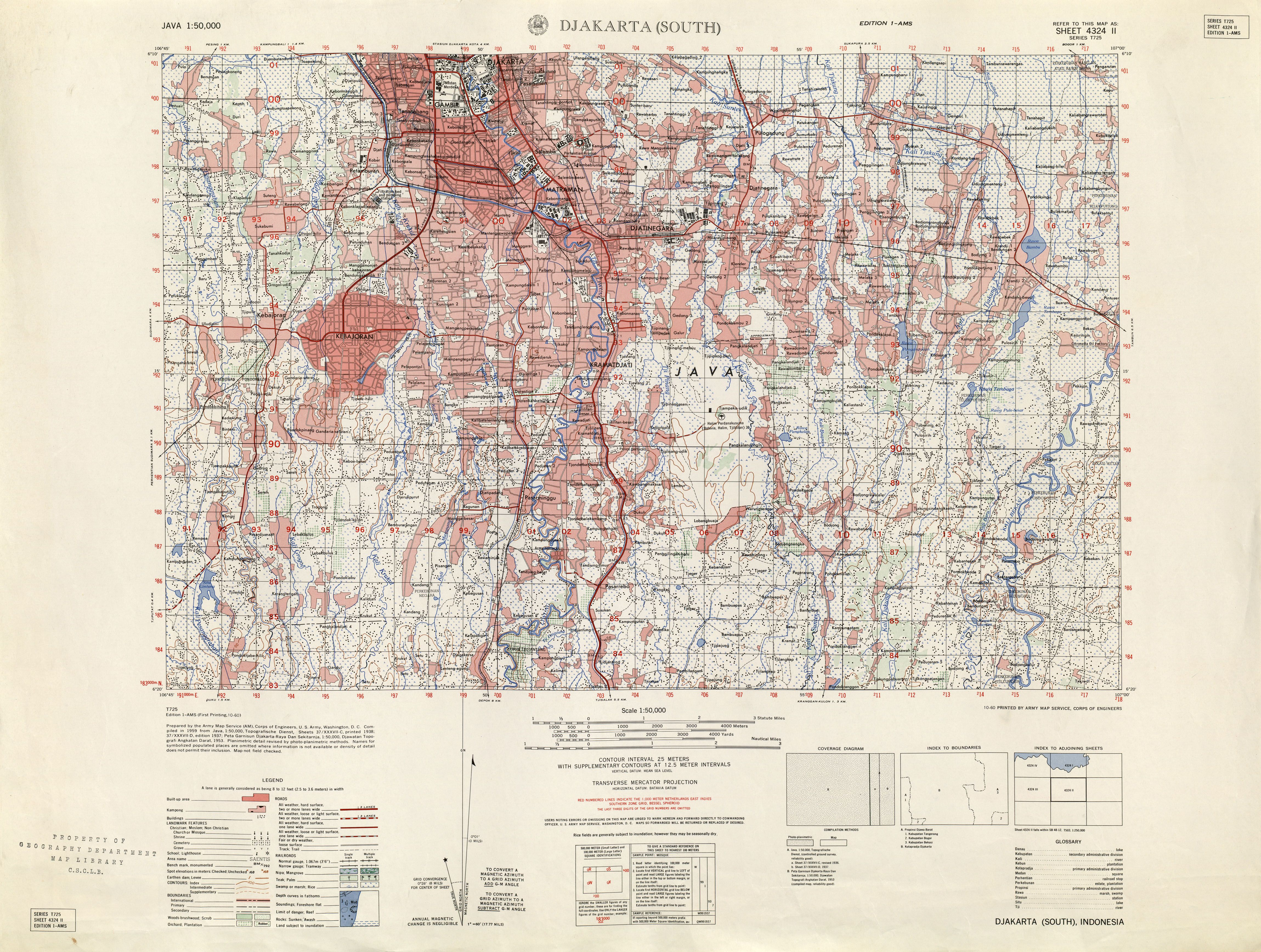 Jakarta 1953 By the Army Map Service