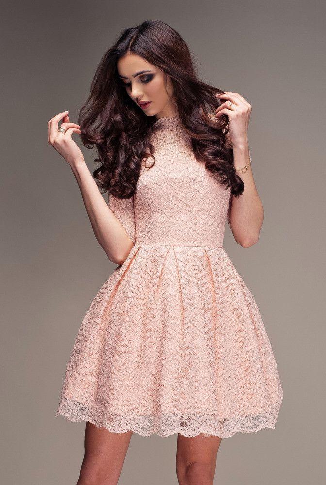 Pudrowy Roz Koronkowa Sukienka Nowosci Sukienki Kolekcje New Collection Cherry Tytul Sklepu Zmienisz W Dziale Mo Blush Lace Dress Pretty Dresses Dresses