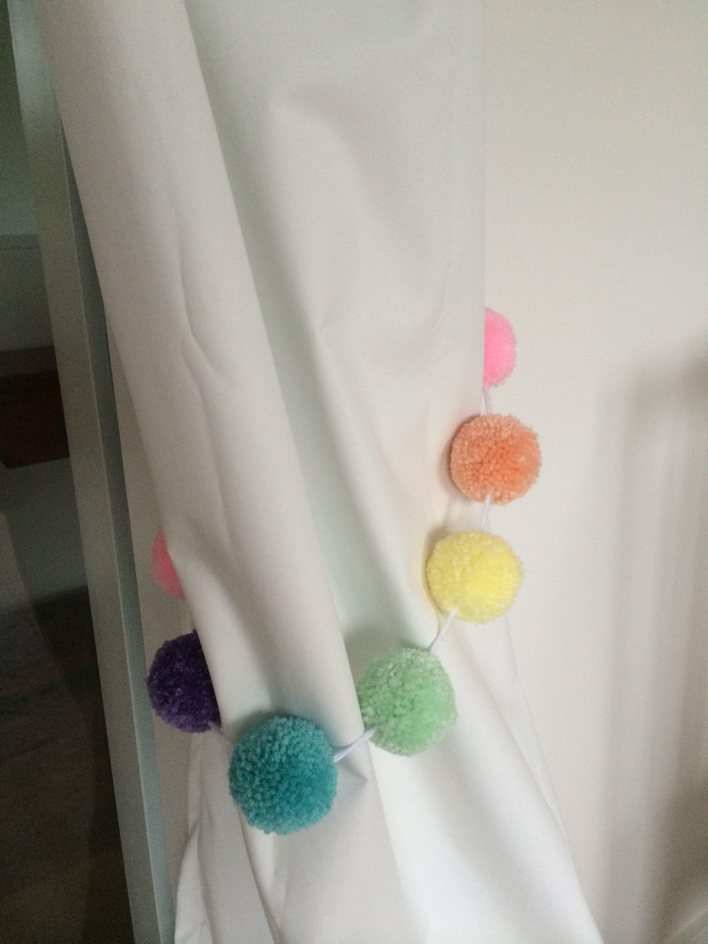 Curtain Tie Backs Made Using Pom Pom Garland By